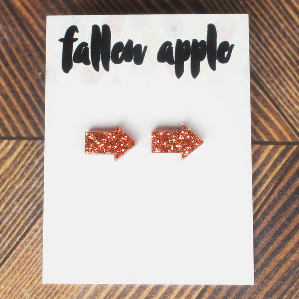 arrow studs rose gold glitter by fallen apple