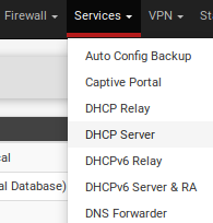 Select DHCP Server from top menu