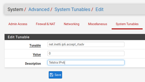 System Tunables for Telstra IPv6