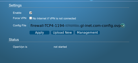 Enable OpenVPN Client