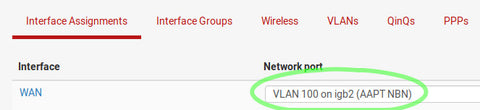 Select VLAN interface as WAN