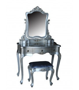 Dressing Table With Mirror Antique Silver