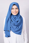 Plain Machine Rolled Shawl in Dark Blue