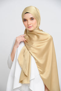 Aisha Satin Oval Shawl Golden Flakes Large Picot