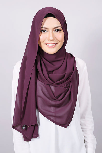 Plain Machine Rolled Shawl in Eggplant