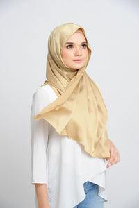 Aisha Satin Rectangle Shawl Golden Flakes Small Picot