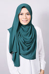 Plain Machine Rolled Shawl in Dark Green