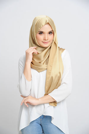 Aisha Satin Rectangle Shawl Golden Flakes Large Picot
