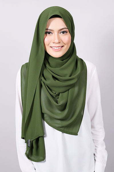 Plain Machine Rolled Shawl in Bronze Green