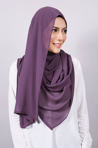 Plain Machine Rolled Shawl in Purple Pennant