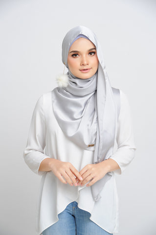 Aisha Satin Rectangle Shawl Platinum Small Picot