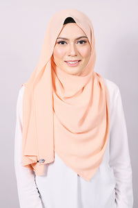 Plain Machine Rolled Shawl in Peach