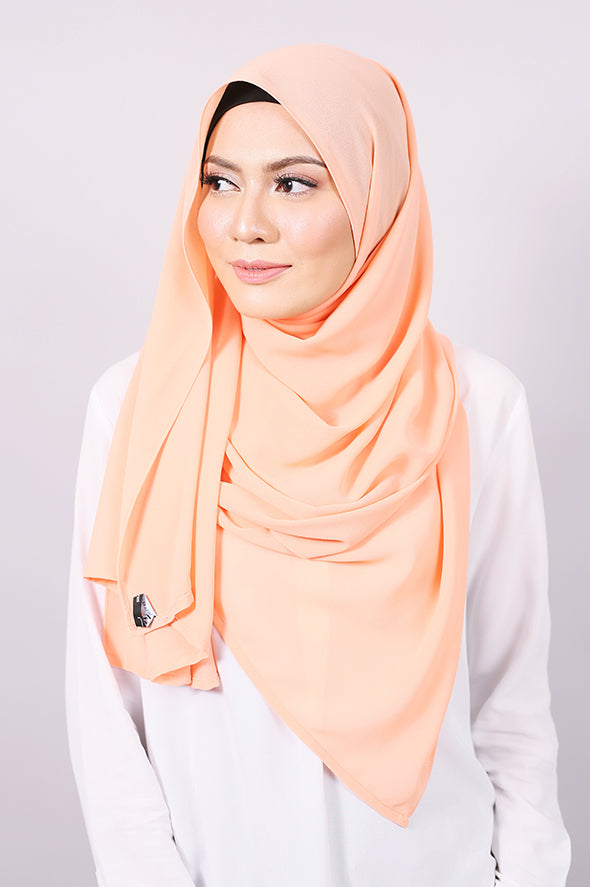 Plain Machine Rolled Shawl in Peach Bloom