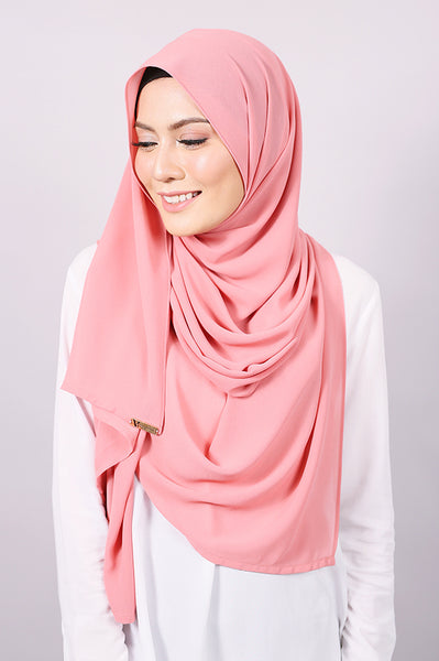 Plain Machine Rolled Shawl in Coral