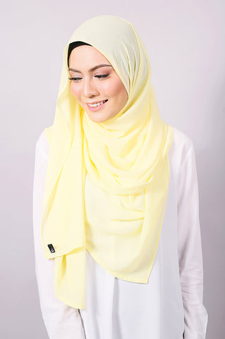 Plain Machine Rolled Shawl in Tender Yellow