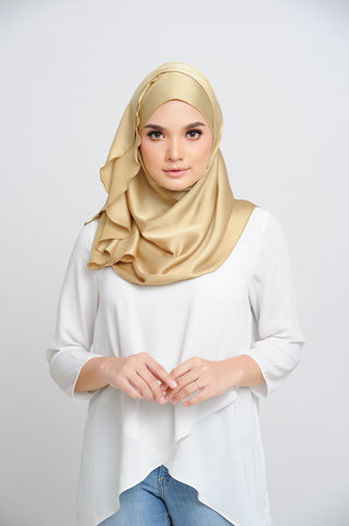 Aisha Satin Oval Shawl Golden Flakes Small Baby Seam