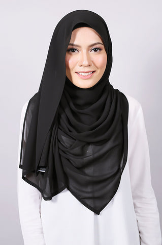 Plain Machine Rolled Shawl in Black