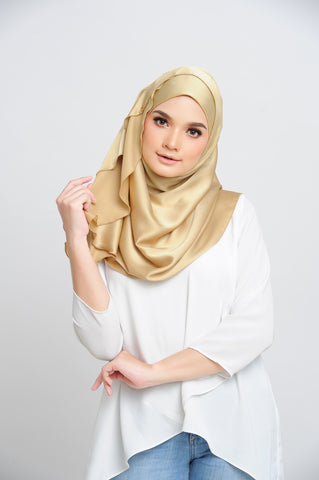 Aisha Satin Oval Shawl Golden Flakes Large Baby Seam