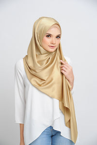 Aisha Satin Rectangle Shawl Golden Flakes Large Machine Rolled