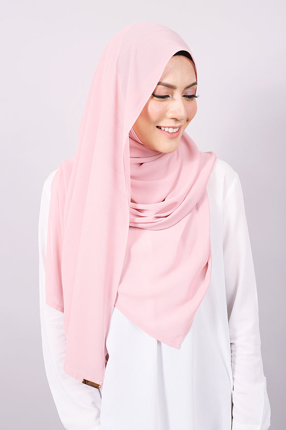 Plain Machine Rolled Shawl in Silver Pink