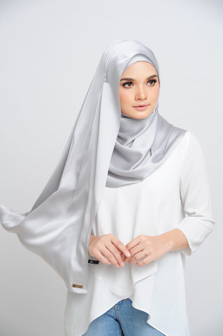 Aisha Satin Rectangle Shawl Platinum Large Machine Rolled
