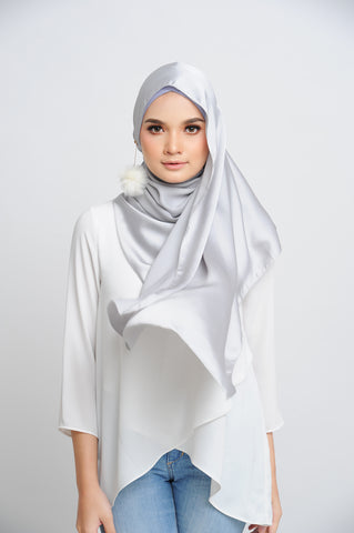 Aisha Satin Rectangle Shawl Platinum Large Picot