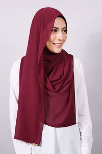Plain Machine Rolled Shawl in Red Plum