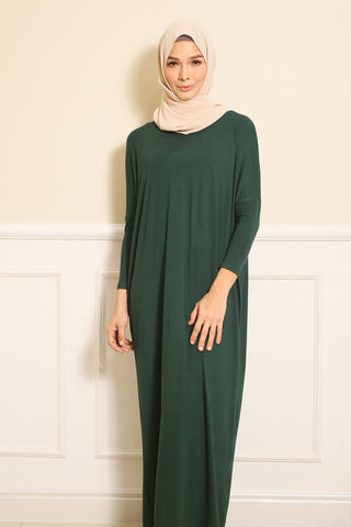 Basic Batwing Dress in Emerald Green