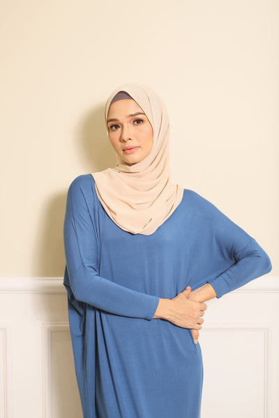 Basic Batwing Dress in Blue