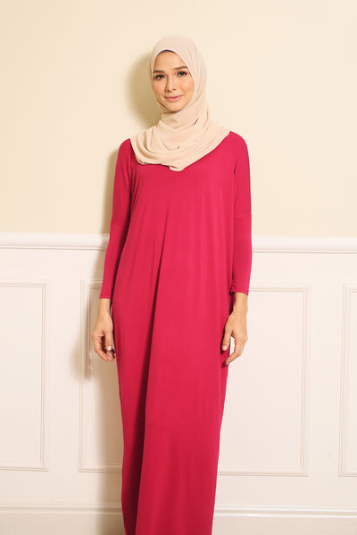 Basic Batwing Dress in Deep Pink