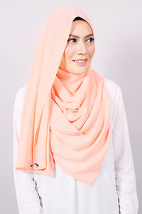 Plain Machine Rolled Shawl in Shell Coral