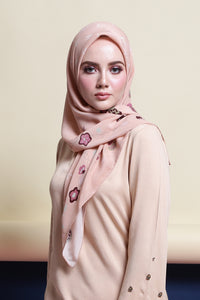 Belle Silk Square Scarf in Peach