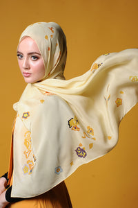 Belle Silk Square Scarf in Yellow