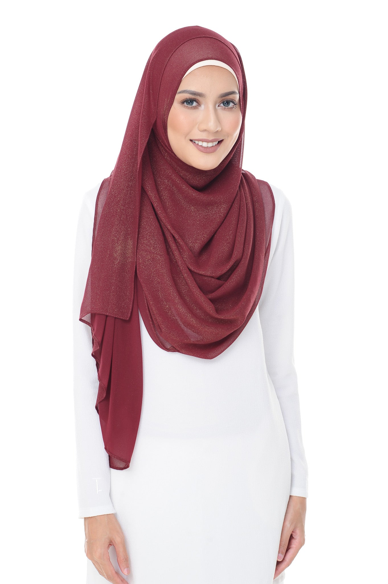 Marcella Instant Scarf In Burgundy Red