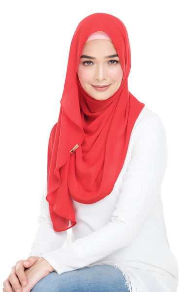 Essential Scarf Shimmering Series in Fiery Red