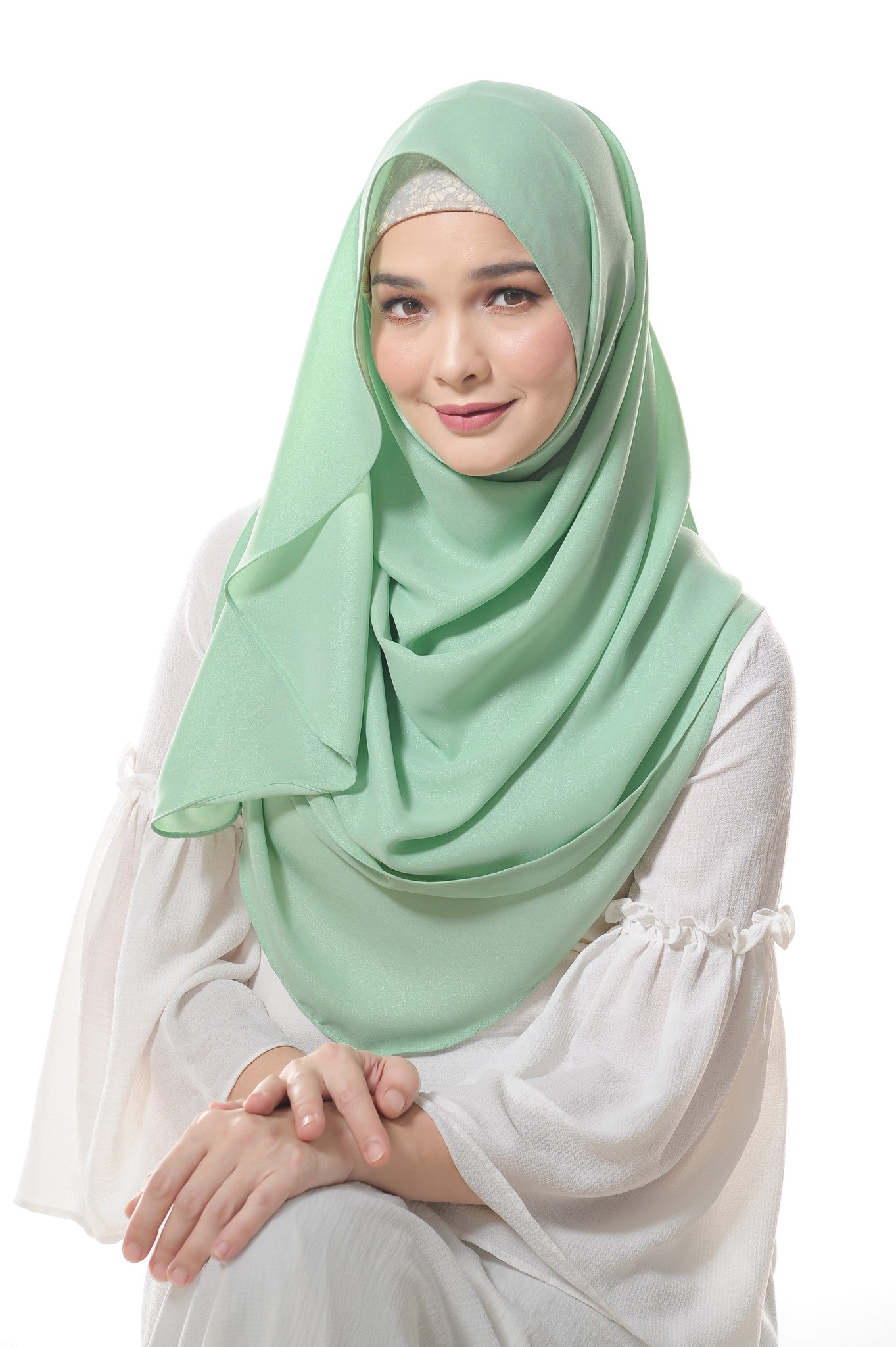 Essential Scarf Shimmering Series in Patina Green