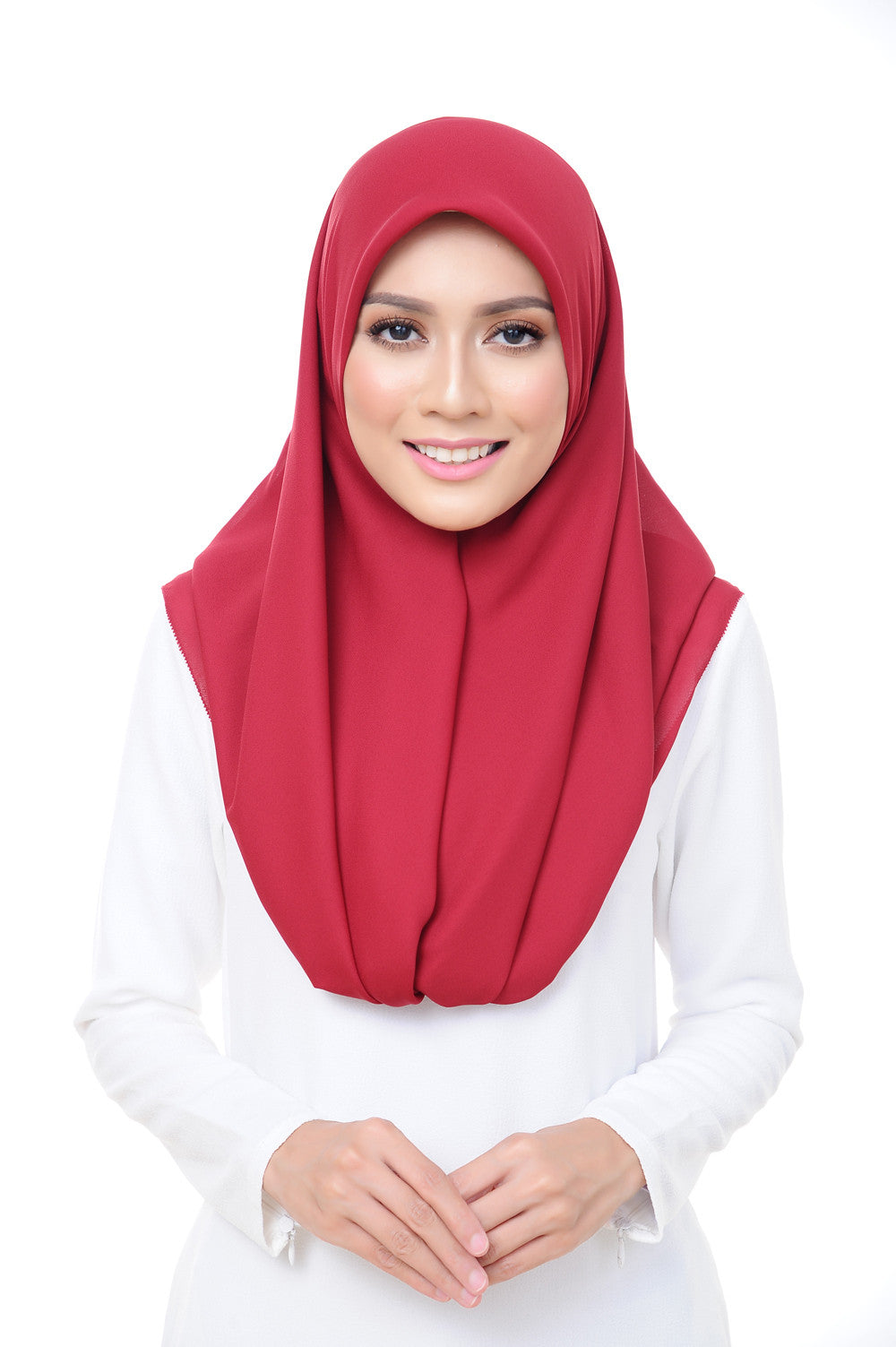 Premium Square Scarf in Aurora Red