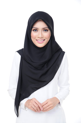 Premium Square Scarf in Black Beauty