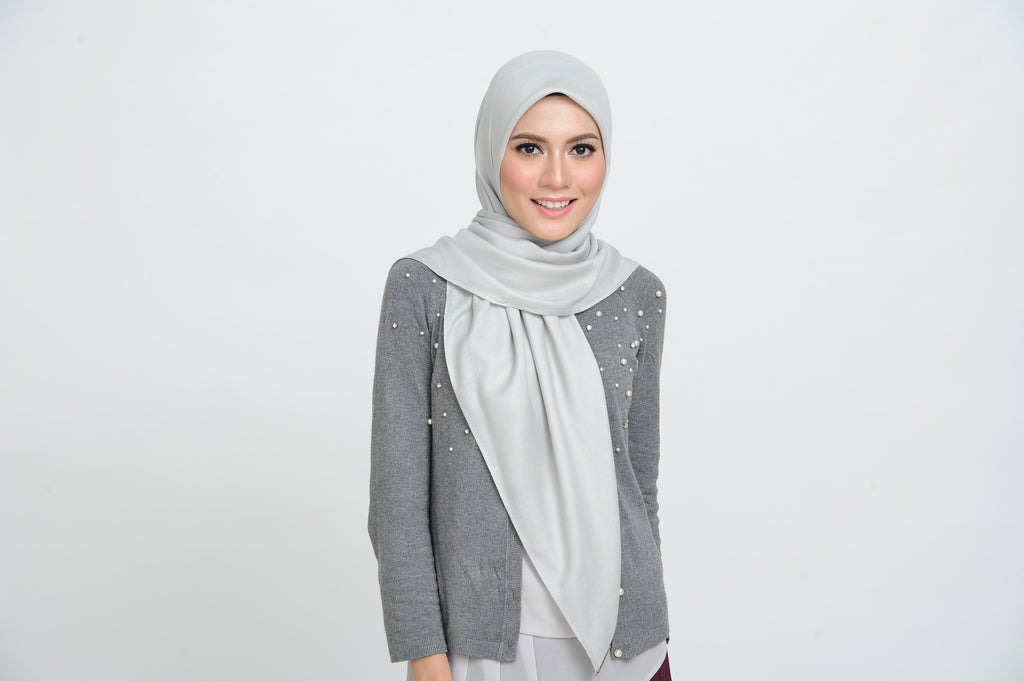 Cotton Square Scarf in Puritan Grey