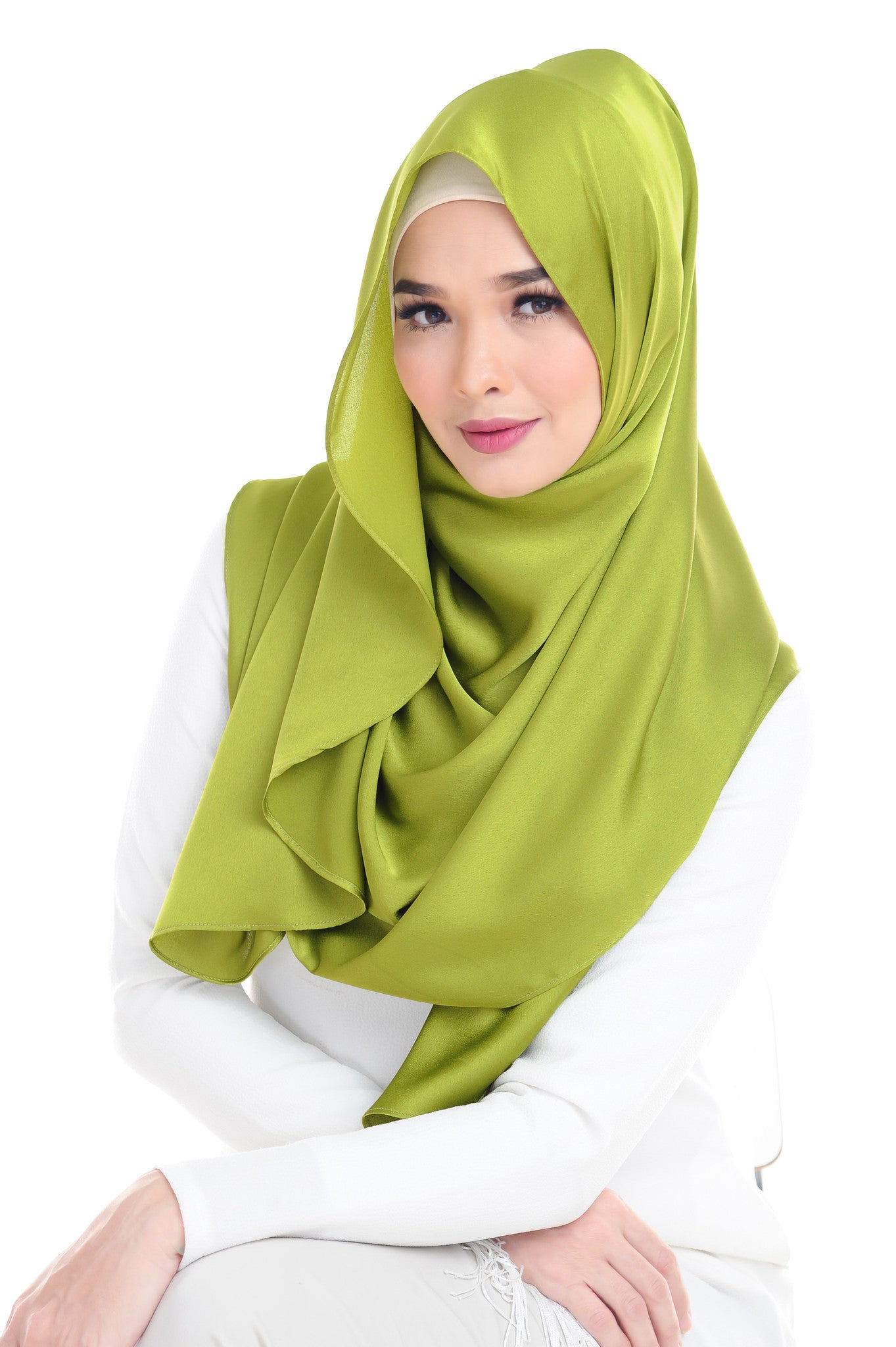Essential Scarf Satin Series #2 in Lime Green