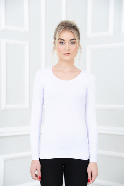 Long Sleeve Basic Top in White