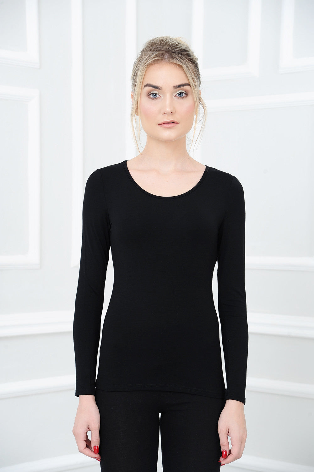 Long Sleeve Basic Top in Black
