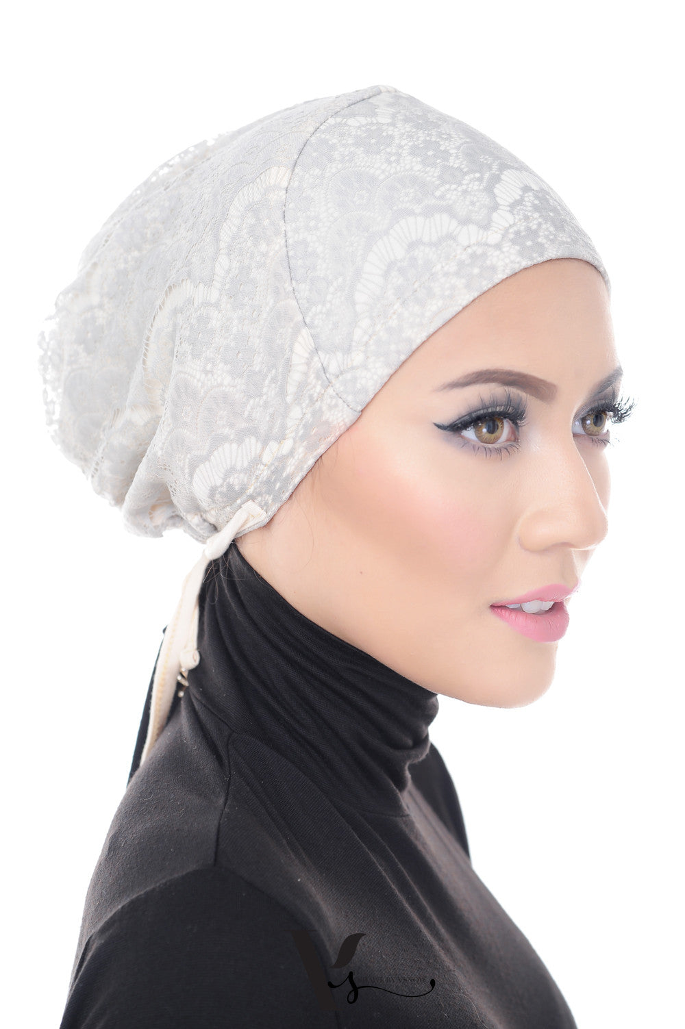 Tie Back Lace Bonnet Cap in Classic Grey