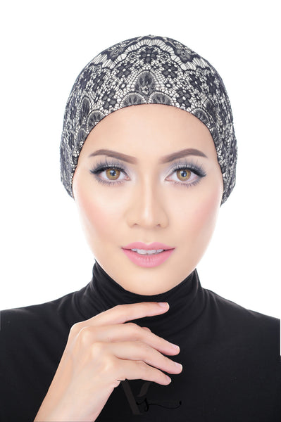 Tie Back Lace Bonnet Cap in Basic Black