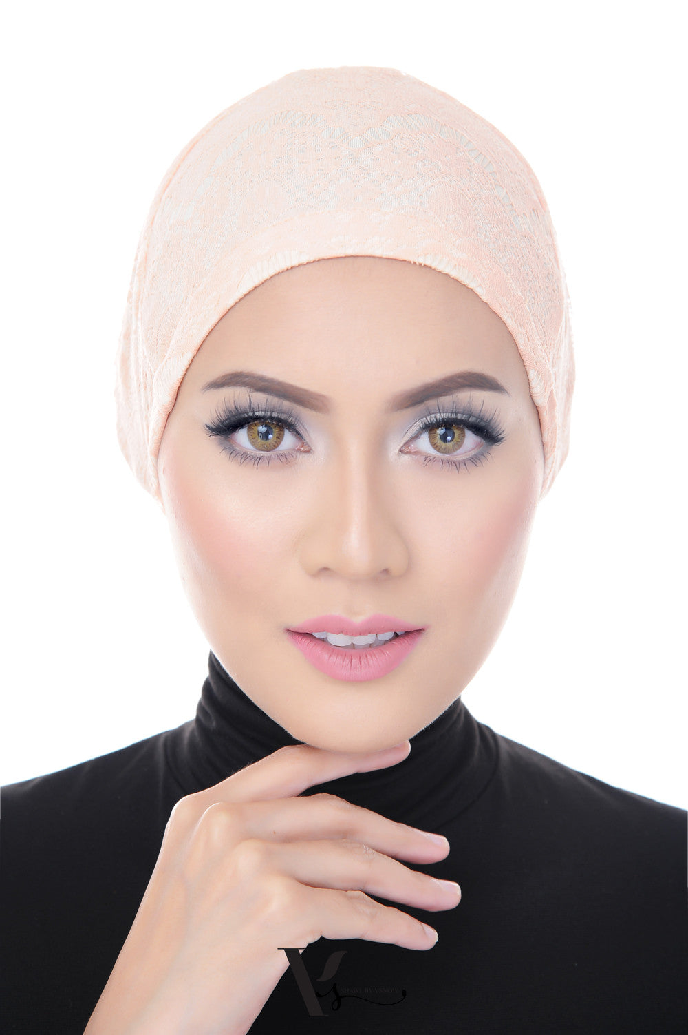 Tie Back Lace Bonnet Cap in Whipped Peach