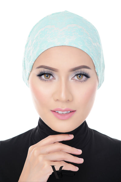 Tie Back Lace Bonnet Cap in Cara Mint