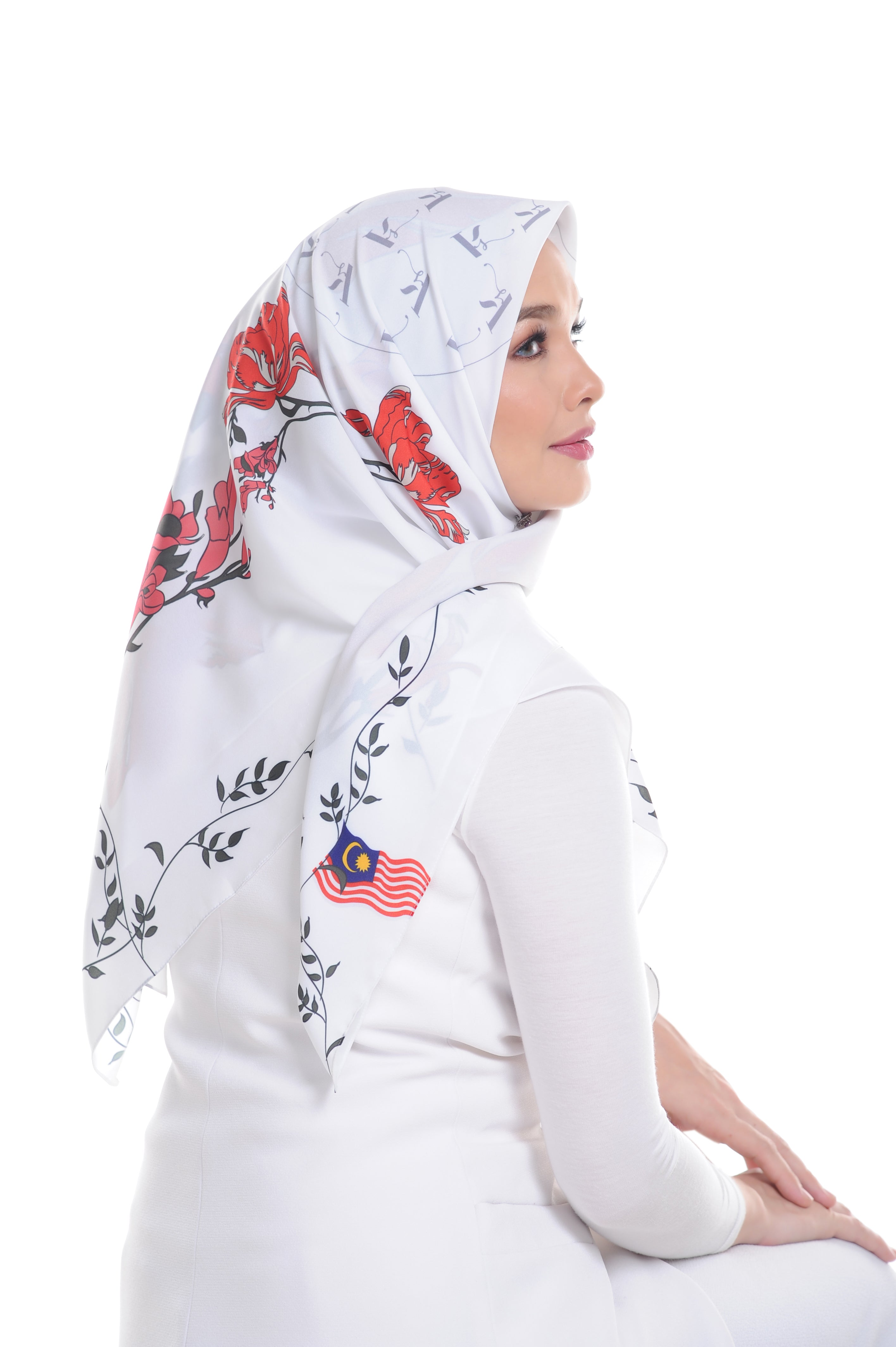 Malaysian Baba in White Square Scarf
