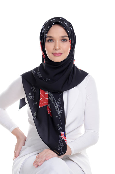 Malaysian Baba in Black Square Scarf