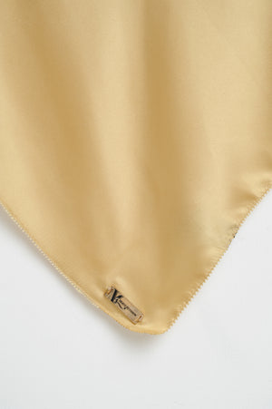 Aisha Satin Square Golden Flake 42 inch Picot
