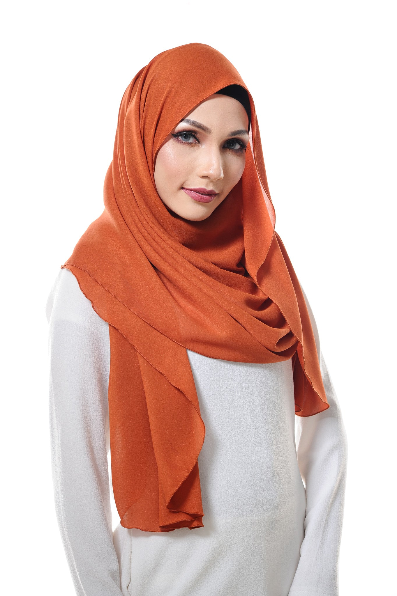 Essential Scarf Shimmering Series in Burnt Orange